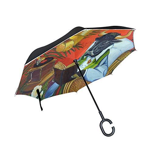 Paraguas invertido de Doble Capa, a Prueba de Viento, al Aire Libre, para Lluvia, Sol, para Coche, con Mango en Forma de C, Silla de Mimbre