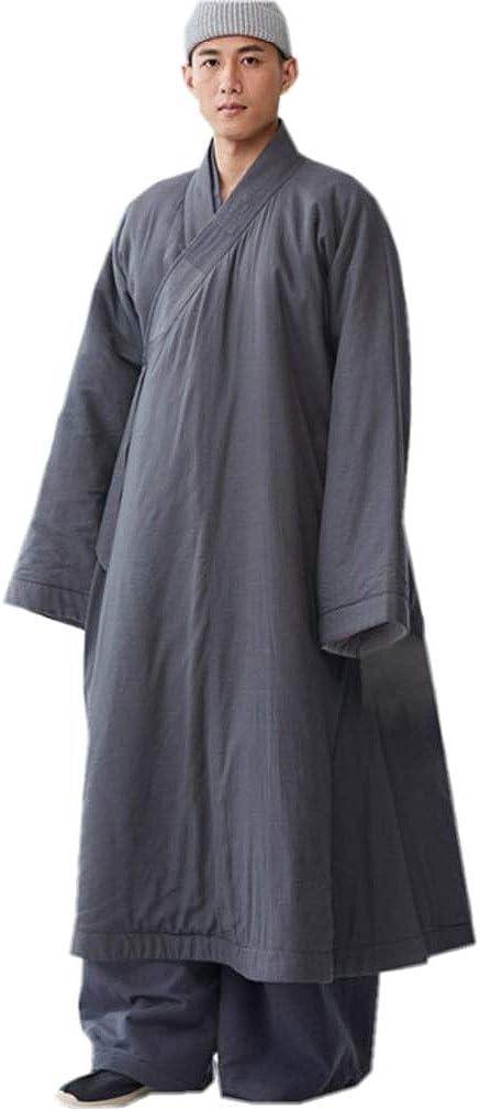 ZanYing Men's Medieval Monk Robe Buddhist Meditation Thickened Winter Cotton Robe