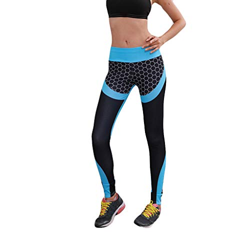 KUKICAT Damen Laufhose Sporthose Sport Leggings Tights Hohe Taille Hüften Farbe Wabenmuster Leggings Laufen Fitness Yoga Hosen Hose