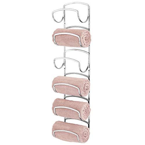 mDesign Modern Decorative Six Level Bathroom Small Towel Rack Holder & Organizer, Wall Mount - for...