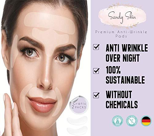 2in1 SandySkin | 165 x Falten-Pflaster Anti Aging & 2x Gratis Augen Silikonpad | Gesicht Falten Pads, Augenfältchen Streifen, Falten Mund & Oberlippenfalten | Flaster