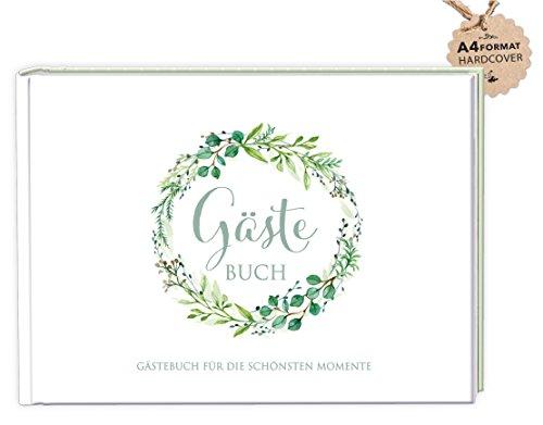 DIN A4 GÄSTEBUCH (Hardcover) Hochzeit Taufe Kommunion Konfirmation • GRÜN Kranz Zweige • Für die lieben Hochzeitsgäste/Gäste zum Selbstbeschreiben, malen und bekleben von eigenen Fotos/Selfie`s