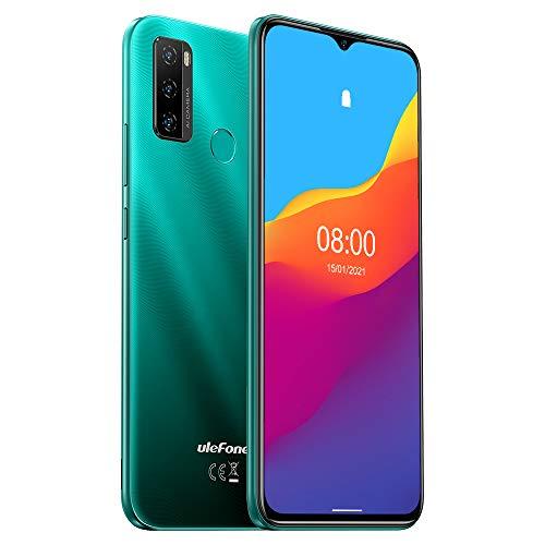 Ulefone Note 10 (2021), Android 11 Smartphone Oferta, 6,52 Pulgadas móvil, Octa-Core 2 GB + 32 GB, 8 MP + 8 MP Quad Cámara, Dual SIM, Batería 5500 mAh OTG, Desbloqueo Huella Digital FM Verde