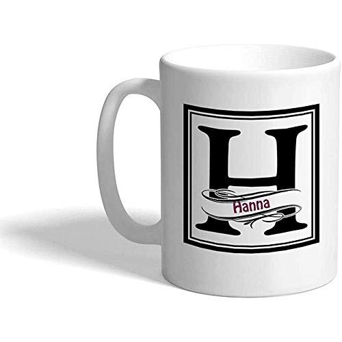 Taza de café personalizada 330 ml Marco de nombre personalizado Letra H Taza de té de cerámica Blanco
