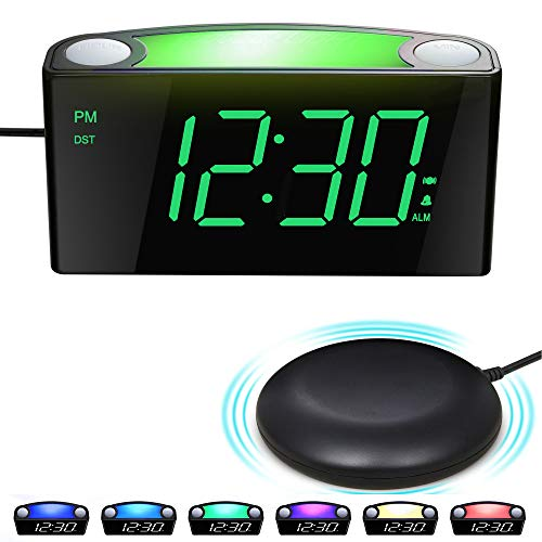 LED Reloj Despertador de Dormitorio Vibrante, Atenuador de 7 Pulgadas, Luz Nocturna de 7 Colores, Volumen Ajustable, Alarmas Duales, 2 Puertos USB para Sordo, Durmientes Pesados,Deficiencia Auditiva