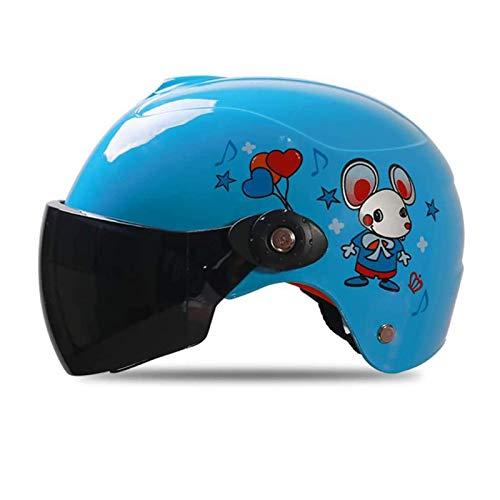 QTQZ Casco de Bicicleta para niños con Lente Transparente, Medio Casco multideportivo para niños para Andar en Bicicleta, Patinar y Andar en patineta, Seguridad para niños de 3 a 10 años, amarill