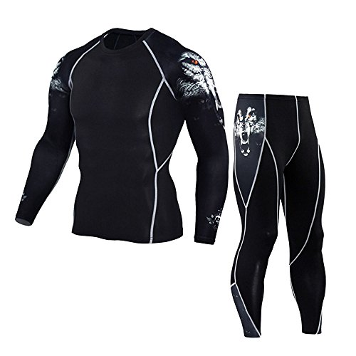 OSYARD Männer Cargoshorts Leggings Yoga Athletic Hosen und Hemd Anzug Fitness Sportshorts, mit Dezentem All-Over Print