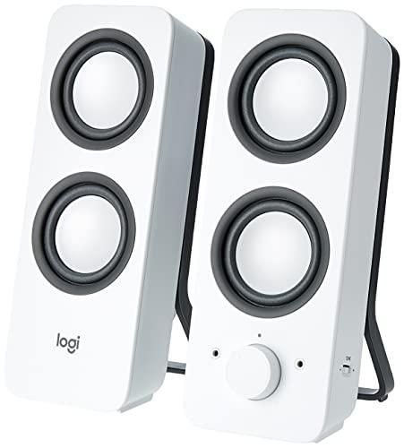 Logitech Z200 2.0 Altavoces Estéreo, 10 Vatios, Sonido Estéreo Detallado, Graves Ajustables, Conexión 2 Dispositivos, Entrada Audio 3.5 mm, Controles Sencillos, Enchufe EU, TV/PC/Móvil/Tablet, Blanco