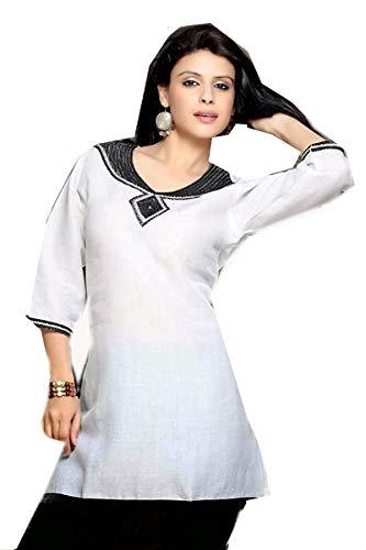 Jayayamala Weiß gestickte U-Ausschnitt, Baumwolle Kaftan, kühle Sommerkleid, vertuschen, Strandkleid, Zeitkleidung Kleid, Tunika (4XL)