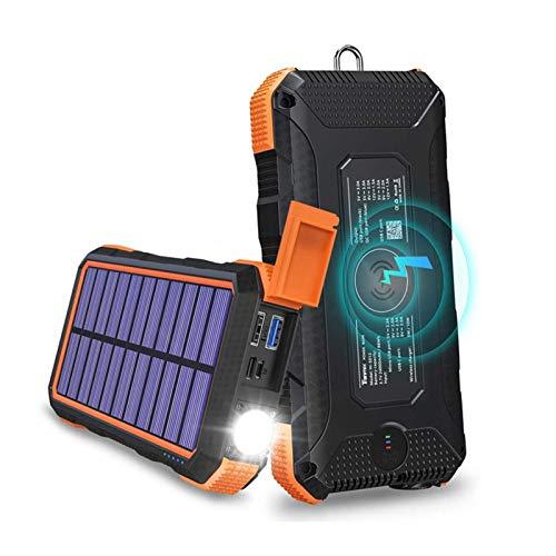 Fuyamp Banco de energía solar de 30000 mAh cargador portátil inalámbrico de alta capacidad cargador portátil de carga rápida paquete de batería externa para teléfonos inteligentes tabletas (A)