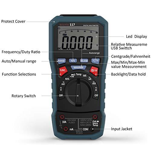 Multímetro Digital, BOLYFA USB Multímetro Profesional, TRMS Avanzado 6000...