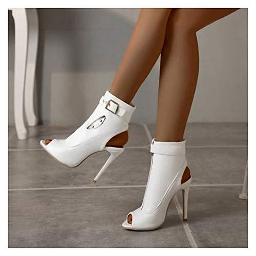 XIANWFBJ Damen High Heels, Neue Sommersandalen, Stiefel Mit Hohen Absätzen, Monochrome Reißverschlüsse (Größe 34 Bis 50), Es Stehen Auswahl,Weiß,44