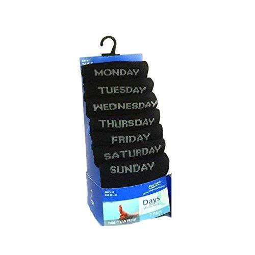 FF11 7Paar Socken, ein Paar für jeden Tag der Woche, abgestimmt auf Ihre Tagesstimmung, schwarz, Baumwolle, Anzug, Größe 39-45 Gr. 39/45, DAYS OF THE WEEK SOCKS.[WH1178]