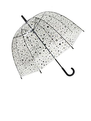 SMATI Paraguas Largo Transparente Estrellas