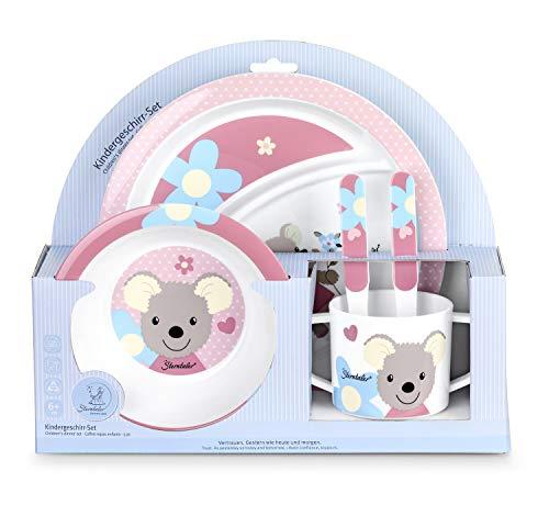 Sterntaler Geschirr-Set Mabel, Teller, Schale, Tasse, Löffel, Gabel, Alter: Für Babys ab 6 Monaten, Rosa/Mehrfarbig