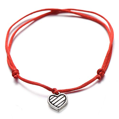 ANGYANG Pulsera Tejida,Hilo Rojo Vintage Corazón Plateado Colgante Trenzado Pulseras De Dijes Ajustables Regalo De La Amistad De La Suerte para Niños Niño Niña Parejas Hombres Mujeres