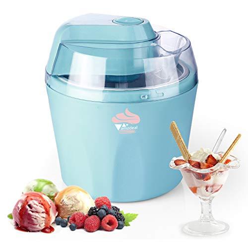 amzdeal 1.5L Heladeras Eléctrico para Helado/Sorbete/Yogurt Helado, Máquina de Helados con Recipiente Extraíble y Temporizador, Limpieza Fácil, Azúl