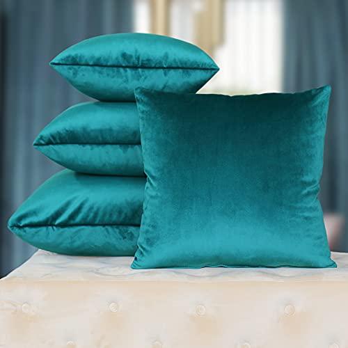 DESHOME Chic - Coppia di Cuscini per divano 60x60 cm in Velluto con imbottitura in gommapiuma, cuscini decorativi per arredo letto matrimoniale, divani, sfoderabili (Petrolio)
