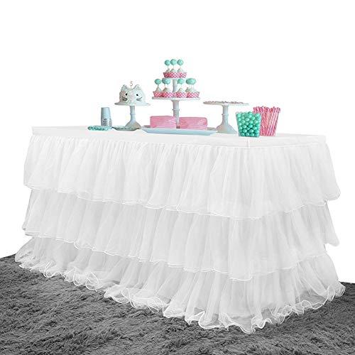 Falda de mesa de tul de 9 pies, faldón de mesa de tutú blanco de 3 capas para mesas redondas o rectangulares, bodas, cumpleaños, decoración de fiestas