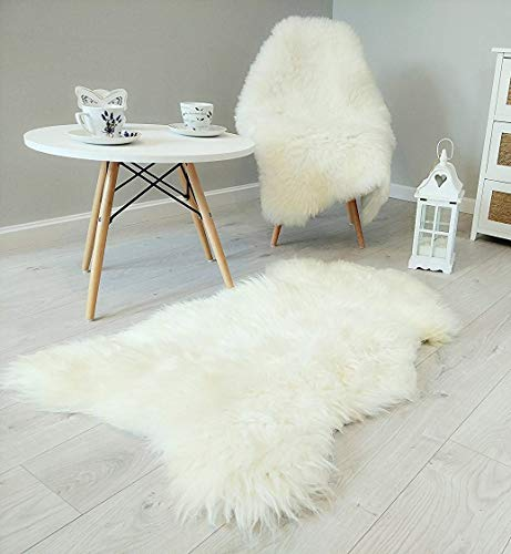 Amazinggirl Lammfell schaffell echt Fellteppich - Dekofell Teppich weiß Schafsfell Fell für Baby Kinderwagen 120-130 cm