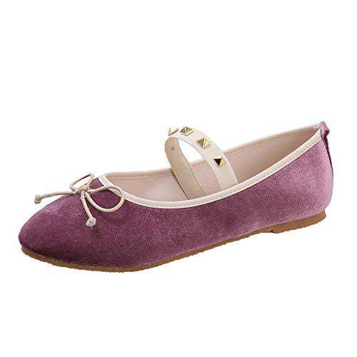TnaIolral Damen Schuhe flach bequem Ballerinas Schlupfschuhe Ballett Schleife Elastikband Sneaker - Beige - 40