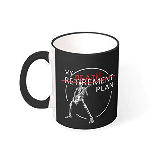 Taza de café de 330 ml con texto 'Pensionsplan' de alta calidad de cerámica, para niñas, mujeres, regalo negro, 31 ml