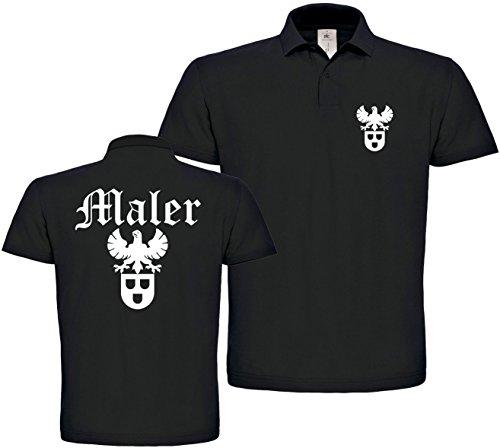 Herren Polo-Shirt Maler Zunftwappen XS bis 4XL (Schwarz, 4XL)