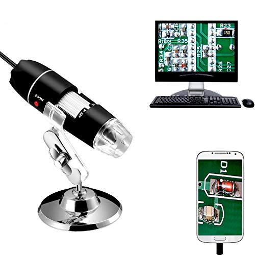 Jiusion 40 A 1000 x endoscopio, 8 LED USB 2.0 Digital Microscopio, Mini cámara con OTG Adaptador y Metal Soporte, Compatible con Mac Window 7 8 10 Android Linux
