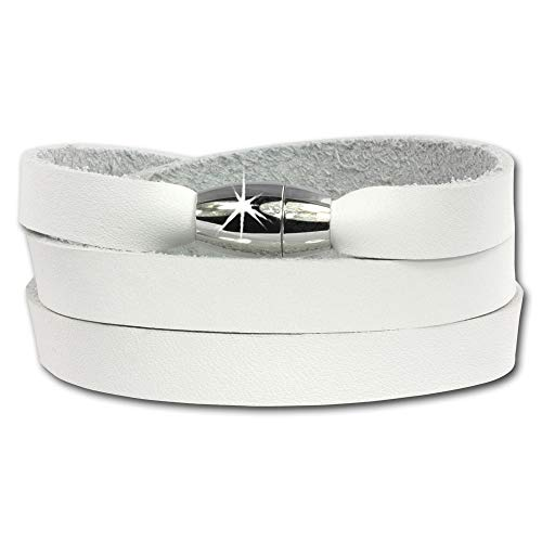 SilberDream-Pulsera de piel con funda, color blanco con cierre magnético, se adapta...