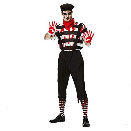 Karnival Costumes- Halloween Zombie Mime Guy Disfraz, Color blanco y negro, extra-large (84186)