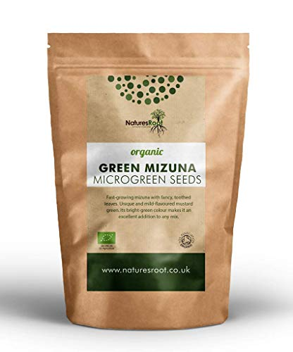 Nature's Root Semi di Mizuna Verde Bio 250g - Senape Giapponese | Germogliare Microgreens | Germogli | Gustosa Nutrizione | Supplemento Superfood