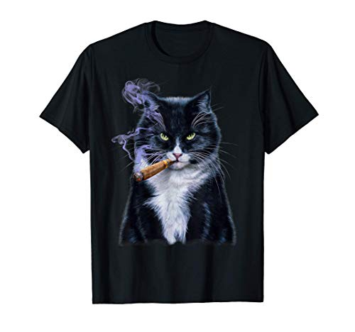 Gato bicolor con cigarro Camiseta