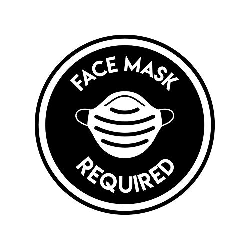 Vinyl Wall Decal - No Hand Shaking/Face Mask Required - 17' x 17' - Safety Sign Social Distancing Warning Sticker for Business Offices Stores Storefront Customers (Black, Face Mask)