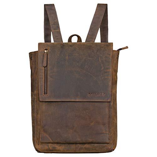 STILORD 'Simon' Daypack Rucksack Leder Herren Damen Vintage Rucksackhandtasche groß Lederrucksack für Business Uni Schule A4 13 Zoll MacBook echtes Büffelleder, Farbe:Colorado - braun