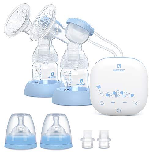 Cocobear Sacaleches Eléctrico,Extractor de leche doble, portátil y recargable por USB, con 2 modos y 9 niveles de succión de mama, pantalla táctil LED