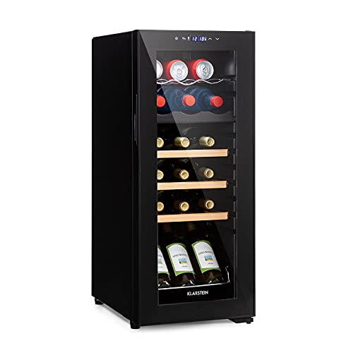 KLARSTEIN Bodega 18 Duo+ - Cantinetta Vini, Frigorifero Vino, Frigo Bevande a due Zone, Porta in Vetro, Tempertaura Regolabile 5-18°C, 50 Litri, 18 Bottiglie, Nero