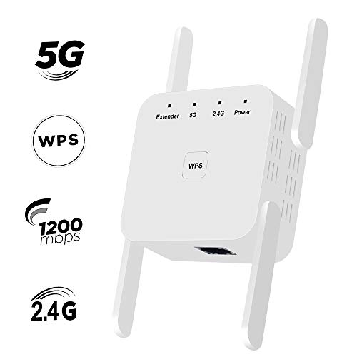 ZHENREN WLAN Repeater 1200 Mbit/s WLAN Range verstärker Bis zu 1200 Mbit/s WiFi Signal Booster 2,4- und 5-GHz-Dualband-AP/Repeater-Modus Volle Abdeckung Einfache Einrichtung WiFi Booster Repeater