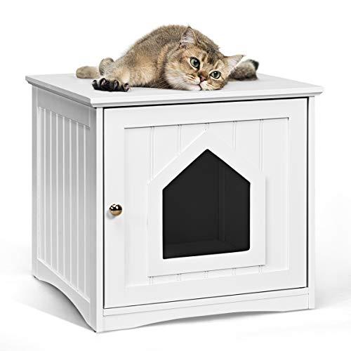 GOPLUS Katzenhaus Weiß, Haustier-Haus aus Holz, Katzenschrank Katzenklo Katzentoilette 51x48x46cm