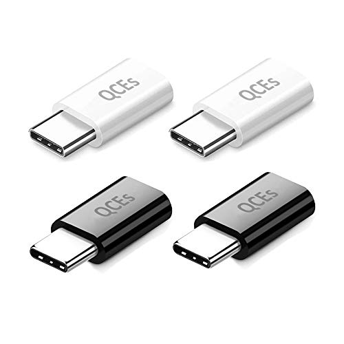 USB C Fast Charging Adapter 4Pack, QCEs Micro USB to USB C Convert Connector Charger Compatible with Samsung Galaxy S8 Plus S9 S10 S9+ S10+ Note 8/9, Google Pixel 2/3 XL LG V40 V30 V20 G7 G6 G5 More
