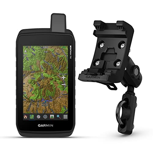 Garmin Montana 700 Rugged GPS Touchscreen Navigator with TopoActive Maps (010-02133-00) with Garmin Motorcycle and ATV Mount Kit
