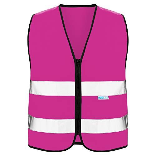 EAZY CASE Reflektorweste für Kinder, Sicherheitsweste, Reißverschluss-Warnweste mit Reflektoren, atmungsaktiv, Reflektierend, zur Erhöhung der Sichtbarkeit im Straßenverkehr, S, Pink