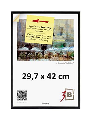 3-B Bilderrahmen Foto - 29,7x42 cm (A3)- schwarz - Fotorahmen, Kunststoffrahmen mit Polyesterglas.