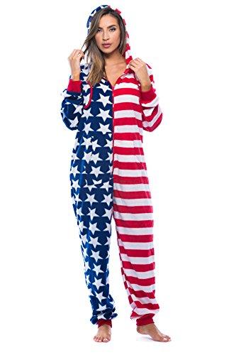 #followme 6424-RWB-XL American Flag Adult Onesie/Pajamas