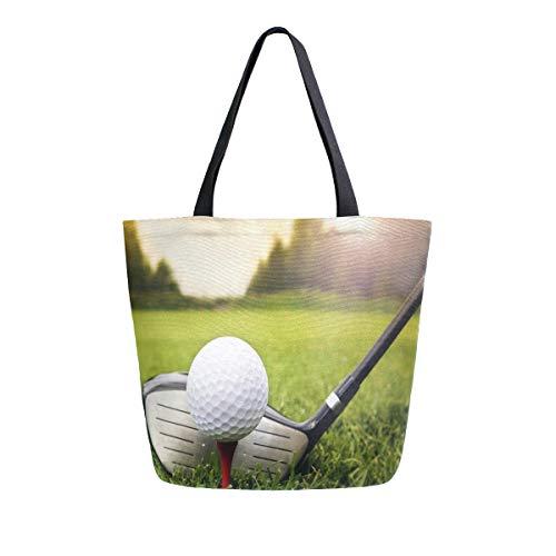 Hunihuni Bolsa de lona para golf, bola, grande, reutilizable, bolsa de compras, bolso de hombro para mujer y niña