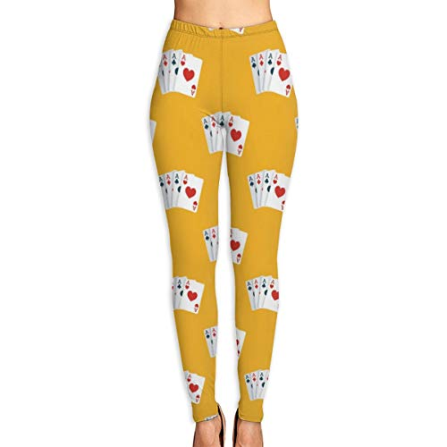 LANKA Gedruckte extralange Frauen-Yoga-Gamaschen-Spielkarten-hohe Taillen-Yoga-Hosen M