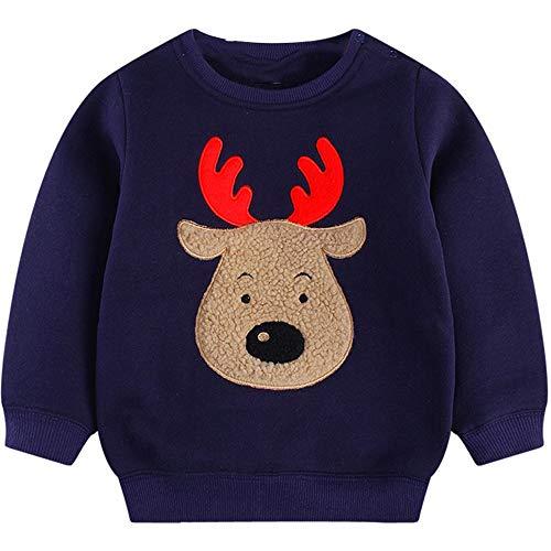 Toddler Boys Christmas Shirt Reindeer Sweatshirt Fleece Crewneck Pullover Winter Warm Xmas Sweaters Tops Navy Blue 2t /90