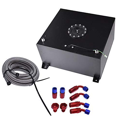 labwork 15 Gallon Black Aluminum Fuel Cell Gas Tank+Cap+Level Sender+Fuel Line Kit