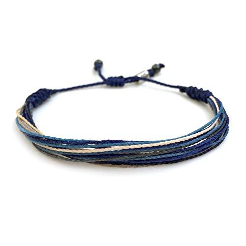 Surfer String Bracelet for Men Blue Gray White w Hematite Stones Handmade Woven Rope Adjustable Gift for Guy by RUMI SUMAQ