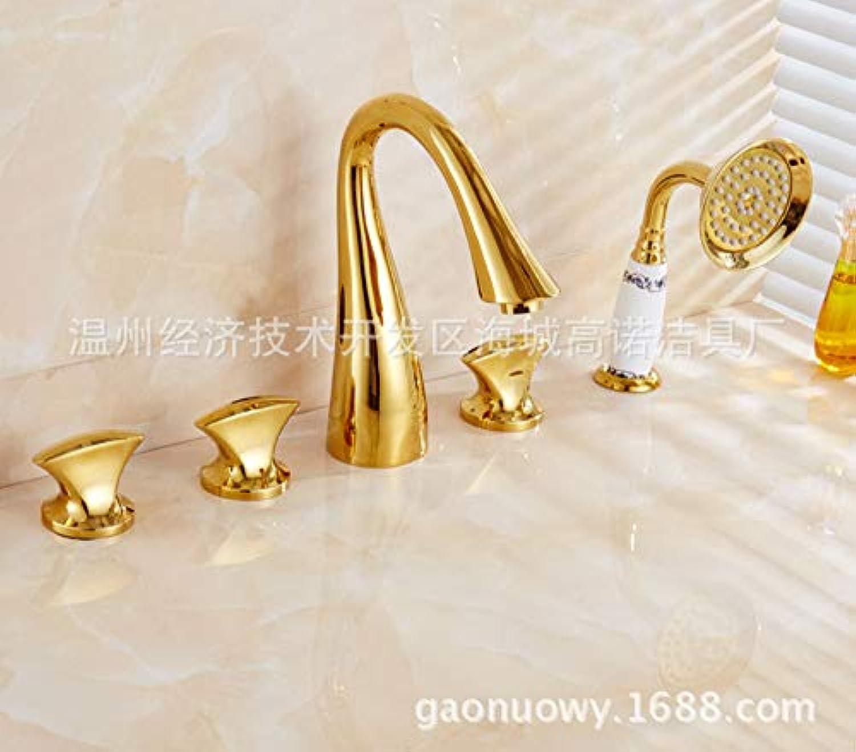 ROTOOY DIY Waschbecken Wasserhhne Wasserhhne Wasserhahn Badewanne Wasserhahn Fünf-Loch Dusche Wasserhahn Gold Europischen Seitenzylinder Fünf-teiliges Set