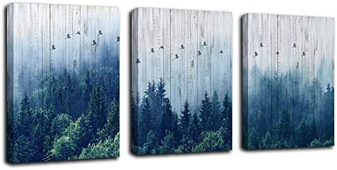 Arjun Mountain Indigo Canvas Wall Art Misty Forest Pictures Modern Nature Navy Blue Painting product image